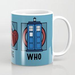 Peace, Love, Who Coffee Mug
