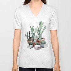 Potted Cacti + Succulents Rose Gold Unisex V-Neck