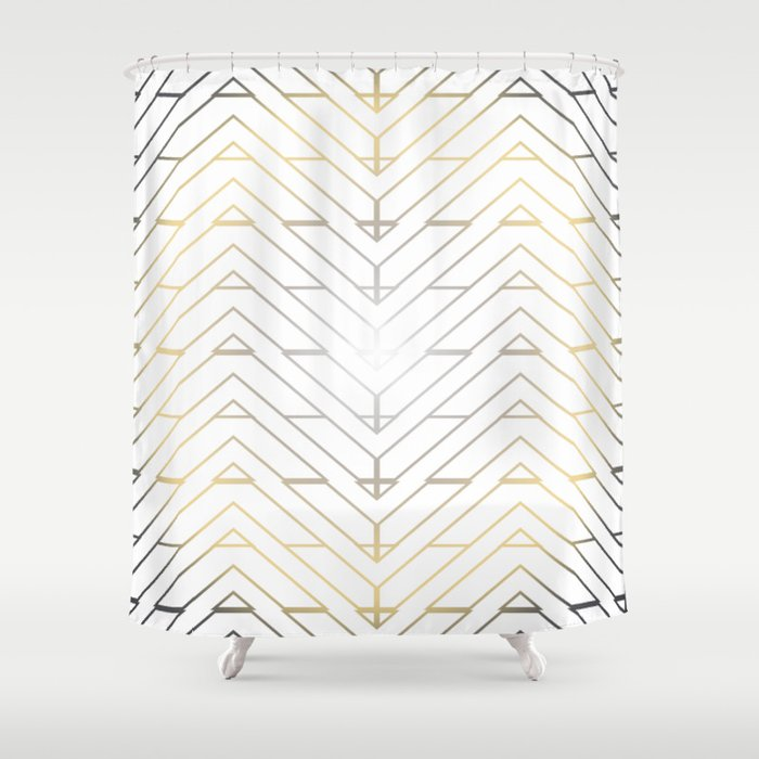 """""""3 Points Where 2 Lines Meet - Silver & Gold"""" Shower Curtain"""