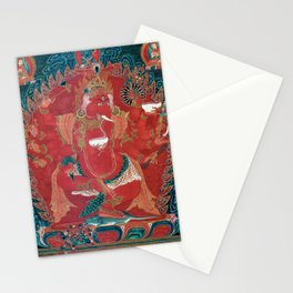 Dancing Red Ganapati of the Three Red Deities 15th Century Textile, Tibet Stationery Cards