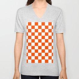 Checkered - White and Dark Orange Unisex V-Neck