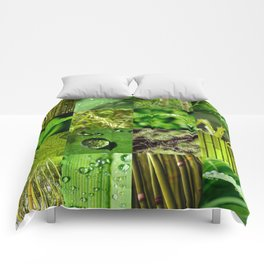 Green Leaf & Tree Nature Collage Comforters