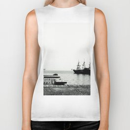 ships on a calm sea black and white Biker Tank