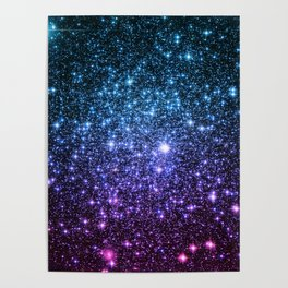 Galaxy Stars : Teal Violet Pink Ombre Poster
