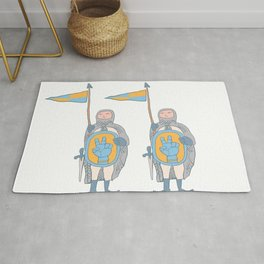 Knights in armour with shield and sword. Rug