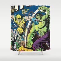 super hero Shower Curtains featuring Canadian Super Hero! by WaXaVeJu