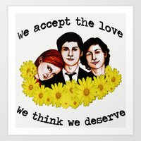 the perks of being a wallflower Art Prints featuring Perks of being a Wallflower by Lydia Dick