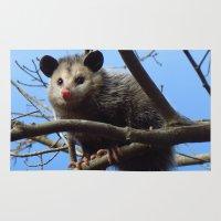 alabama Area & Throw Rugs featuring Alabama Possum by Chuck Buckner