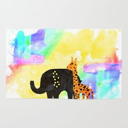 Colorful Giraffe & elephant Rug