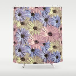 Pink Yellow Blue Shower Curtain