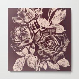 Burgundy in Rose Gold Metal Print