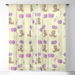 Teddy for girls with balloons Sheer Curtain