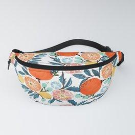 Fruit Shower, Colorful Food Botanical Nature Illustration, Juicy Tropical Garden Orange Jungle Fanny Pack