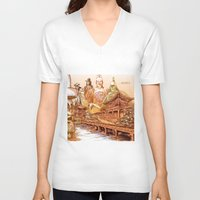 korean V-neck T-shirts featuring Korean Travels by Lundy