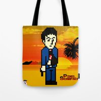 scarface Tote Bags featuring Pixel Scarface by Rapsmyinitials