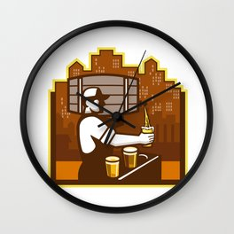 Bartender Pouring Beer Keg Cityscape Retro Wall Clock
