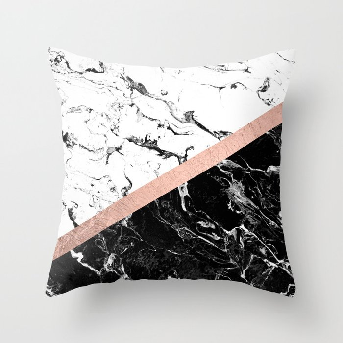 Modern Black White Marble Color Block Rose Gold Throw Pillow By