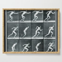Time Lapse Motion Study Man Running Monochrome Serving Tray