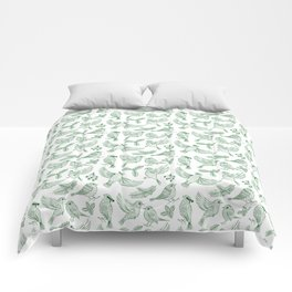 Winter Birds and Foliage Pattern (Green) Comforters