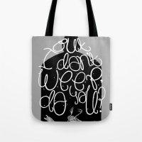 bukowski Tote Bags featuring Bluebird - Bukowski by miles to go
