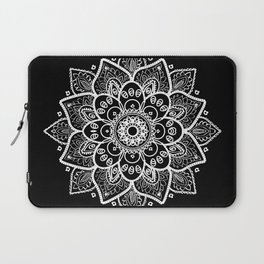 White Mandala On Black Laptop Sleeve