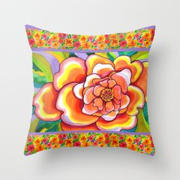 Peach Peonies with Border Throw Pillow