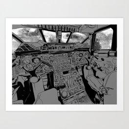 SpaceJet (B/W) Art Print