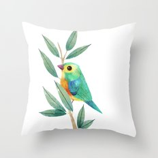 Orange-Bellied Bunting Throw Pillow