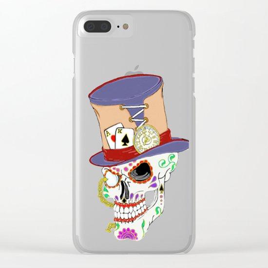 Steam Punk Sugar Skull Clear iPhone Case