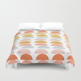 Geometric Half Circles Pattern in Earth Tones Duvet Cover