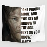 daryl dixon Wall Tapestries featuring Daryl from The Walking Dead by Salina Ayala