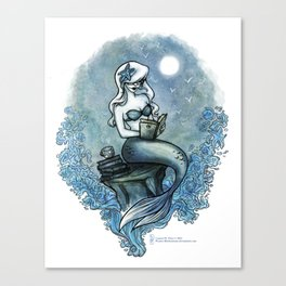 Bookish Mermaid W  Canvas Print