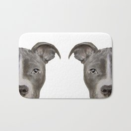Pit bull with white background Bath Mat