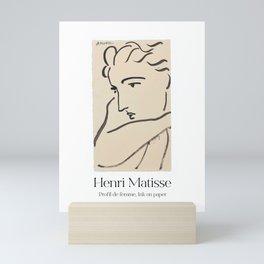 Henri Matisse Ink pen drawing poster, Abstract women face print, French wall art, Female portrait, Scandinavian modern, Line illustration Mini Art Print