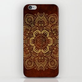 Gold Flower Mandala on Red Textured Background iPhone Skin