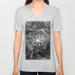 Star Mandala on Enigmatic Black Marble #1 #decor #art #society6 Unisex V-Neck