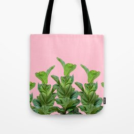 Rubber trees in group with pink Tote Bag