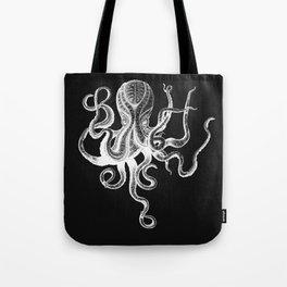 Vintage Octopus Black Tote Bag