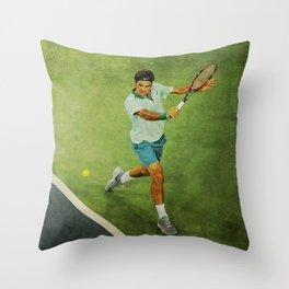 Roger Federer Tennis Backhand Throw Pillow