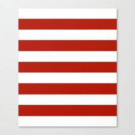 Tomato sauce - solid color - white stripes pattern Canvas Print