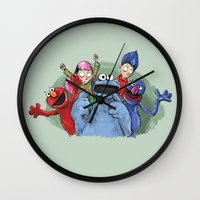 cookie monster Wall Clocks featuring cookie monster by ErsanYagiz