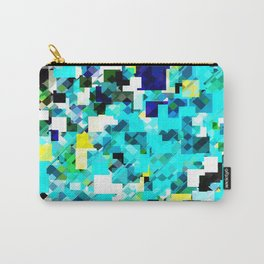 geometric square pixel pattern abstract in blue and yellow Carry-All Pouch