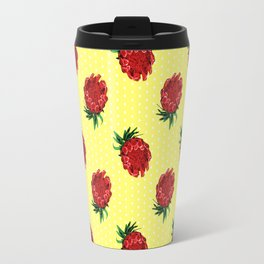 Beautiful Protea Pattern - White polka dots on yellow - Australian Native Florals Travel Mug