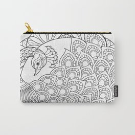 Peacock Mandala Art - Color Your Own  Carry-All Pouch