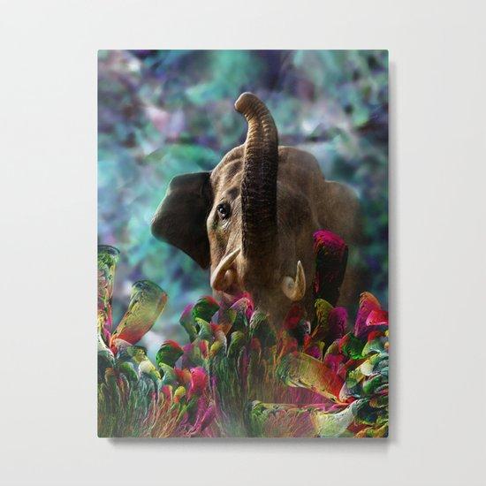 Elephant in Fractal Jungle Metal Print