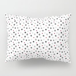 Watercolor dots and hearts in gray and red pattern Pillow Sham