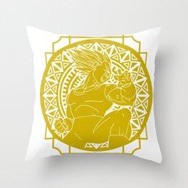 Stained Glass - Dragonball - Vegeta SSJ Throw Pillow