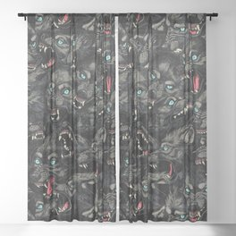Wolf Pack Pattern Sheer Curtain