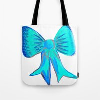 bows Tote Bags featuring Bows by Samaa Ahmed