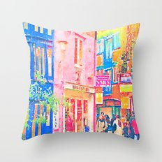 Colorful Neal's Yard London Street Watercolor Painting Print.  Throw Pillow